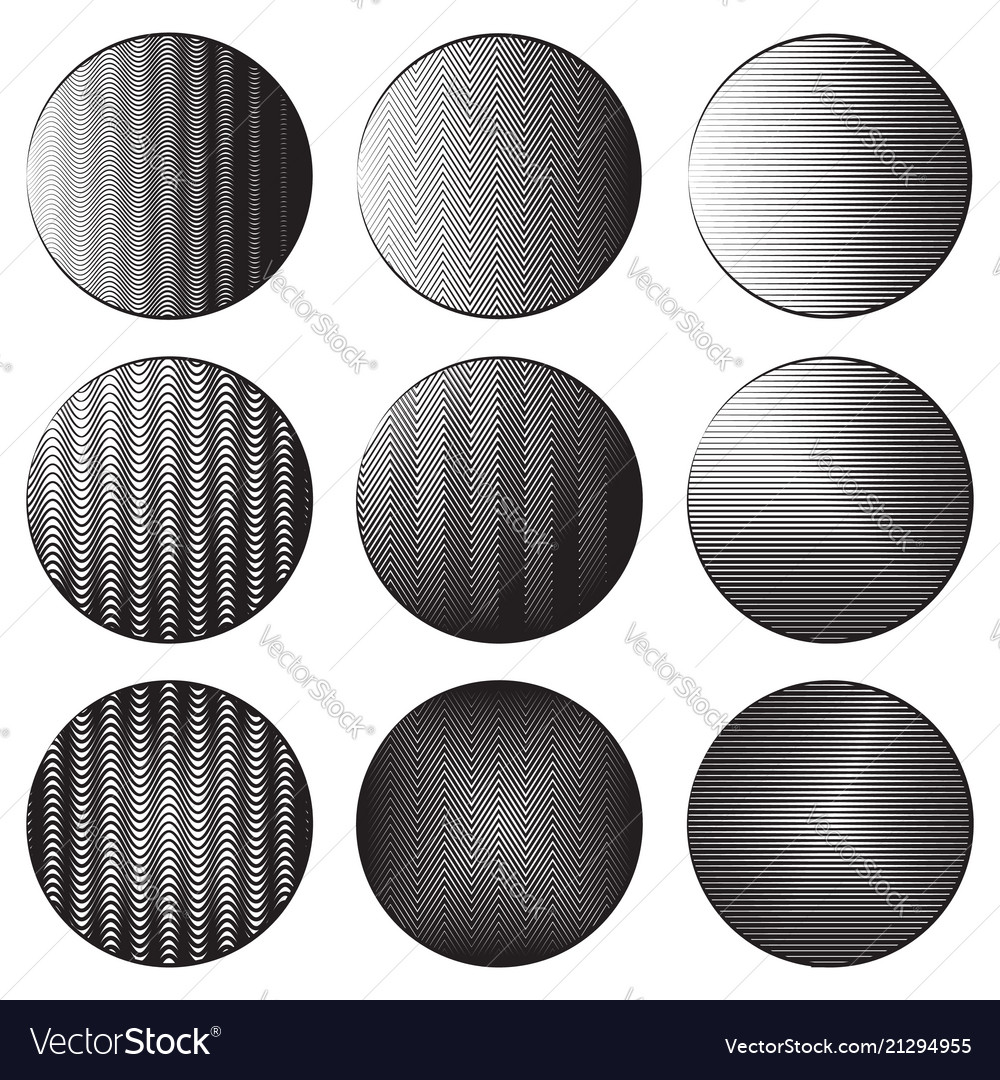 Set of round banners with engraving shading