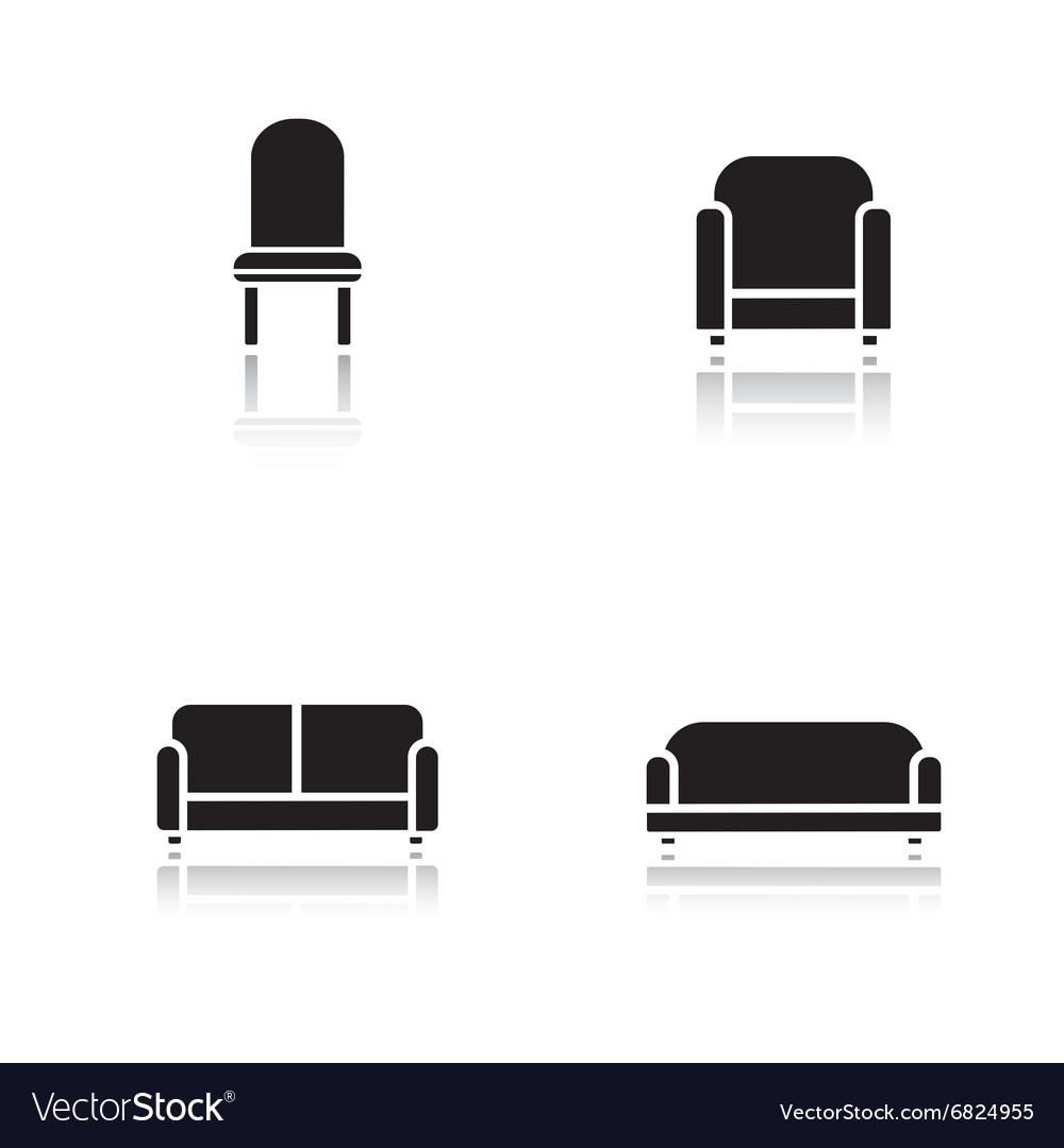 Soft furniture drop shadow icons set