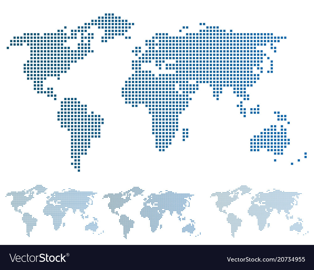 World map in pixels vector image