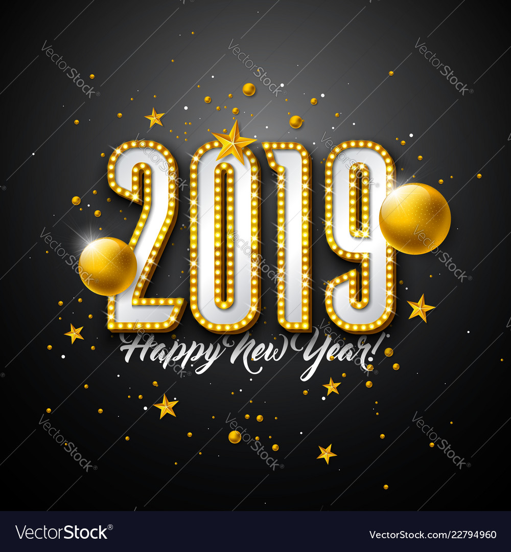2019 happy new year with 3d