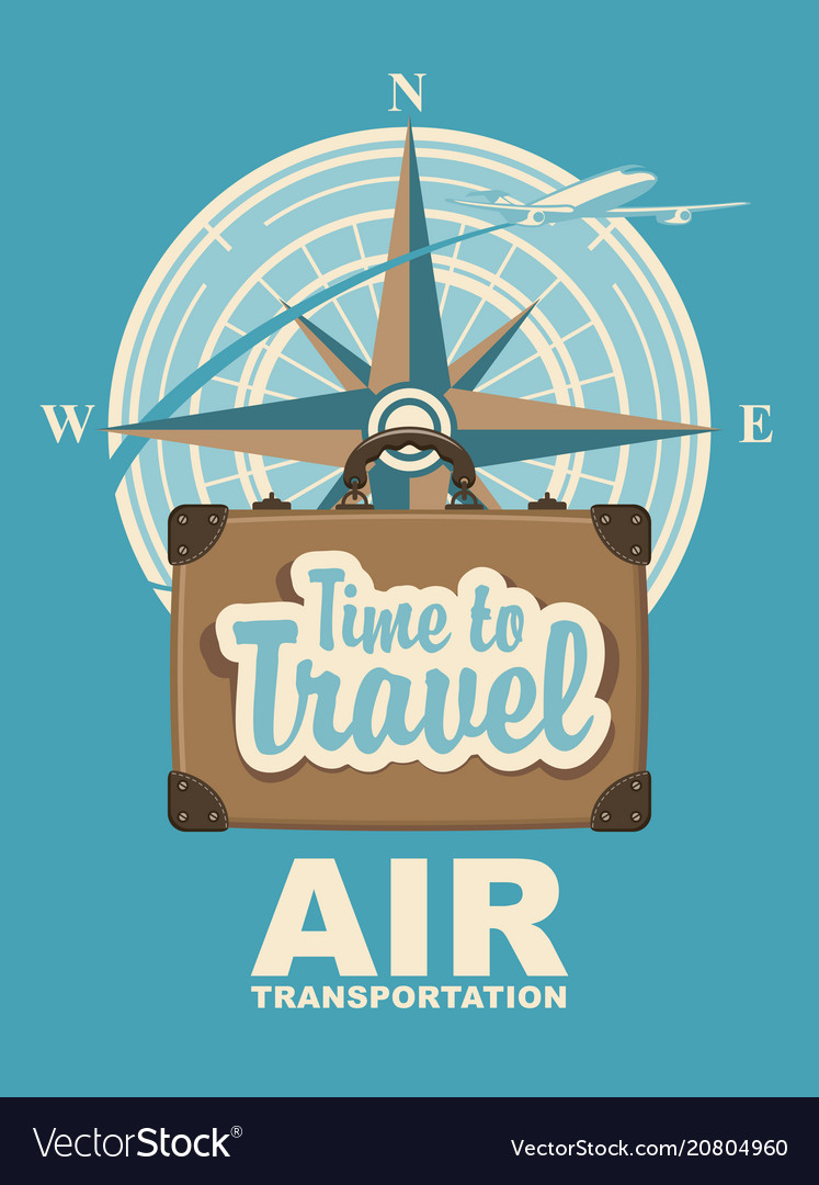 Banner with plane travel suitcase and compass