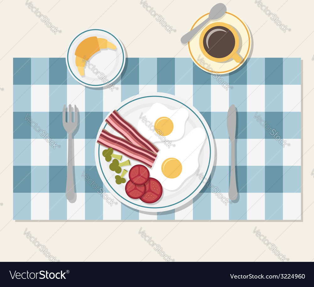 Breakfast Table setting vector image  sc 1 st  VectorStock & Breakfast Table setting Royalty Free Vector Image