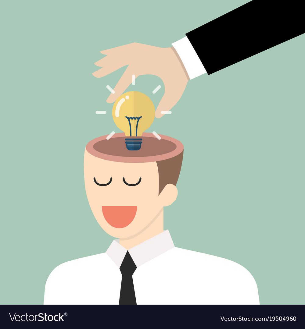 Businessman stealing idea from the other vector image
