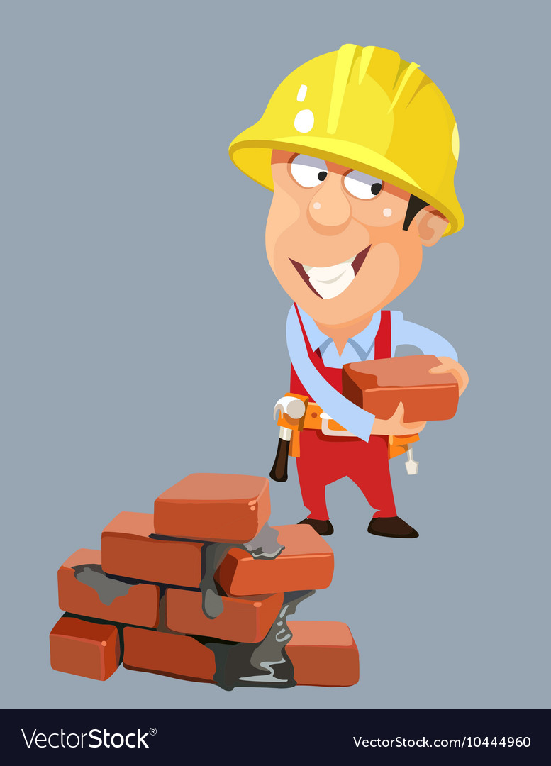 Cartoon builder worker man in a helmet with bricks vector image