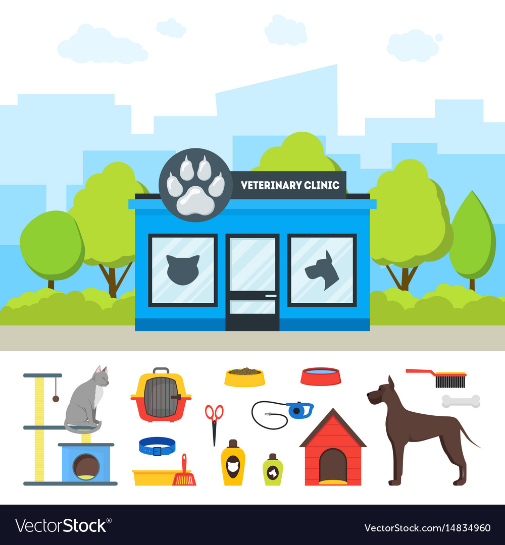 Cartoon veterinary clinic building and elements