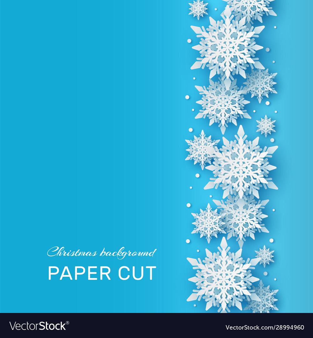 Christmas background papercut 3d white snowflake