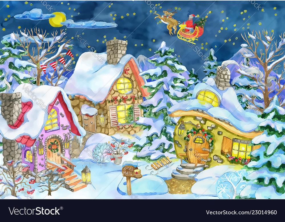 Christmas greeting card with village and santa