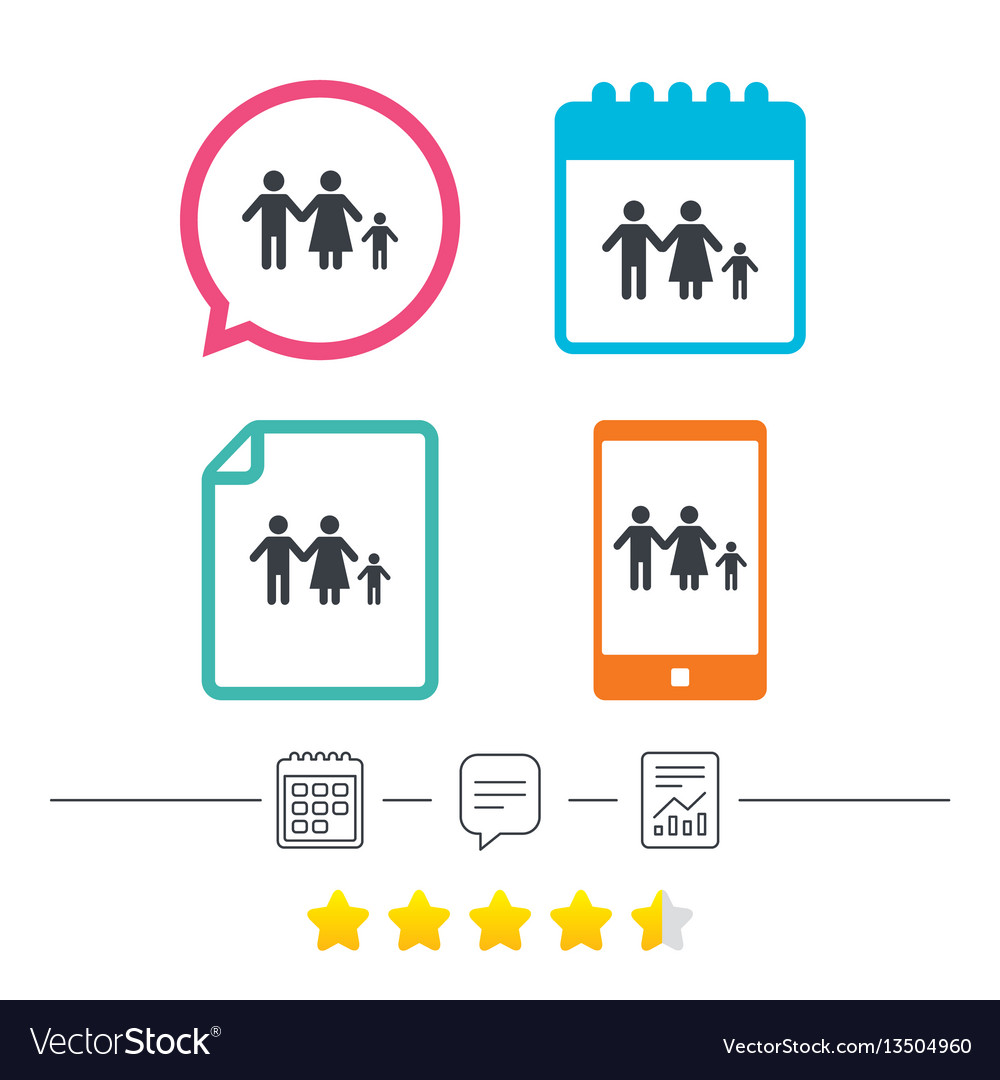 Complete family with one child sign icon vector image