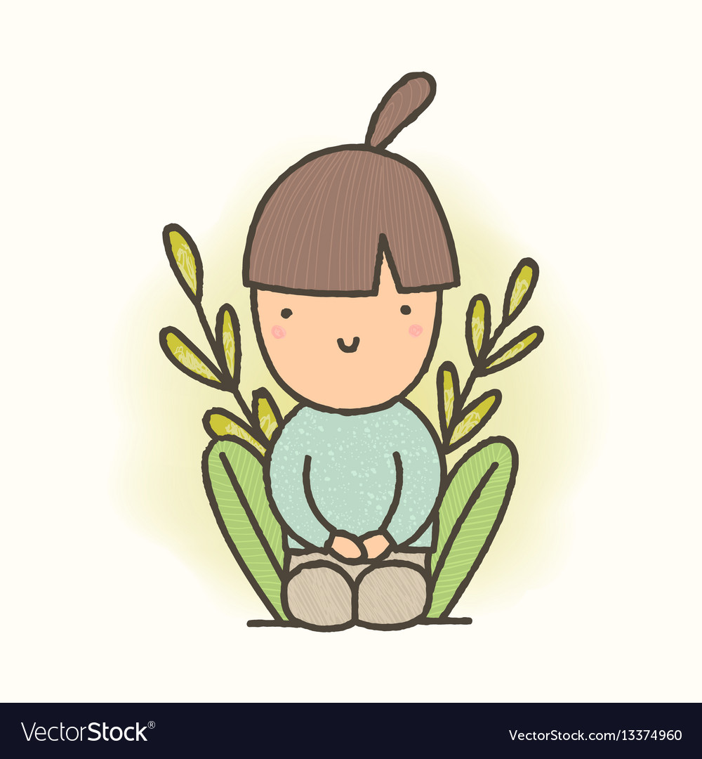 Cute cartoon sitting girl