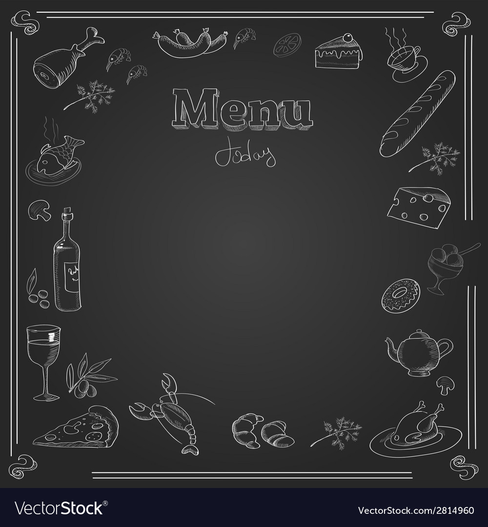 menu design with a chalk board texture royalty free vector