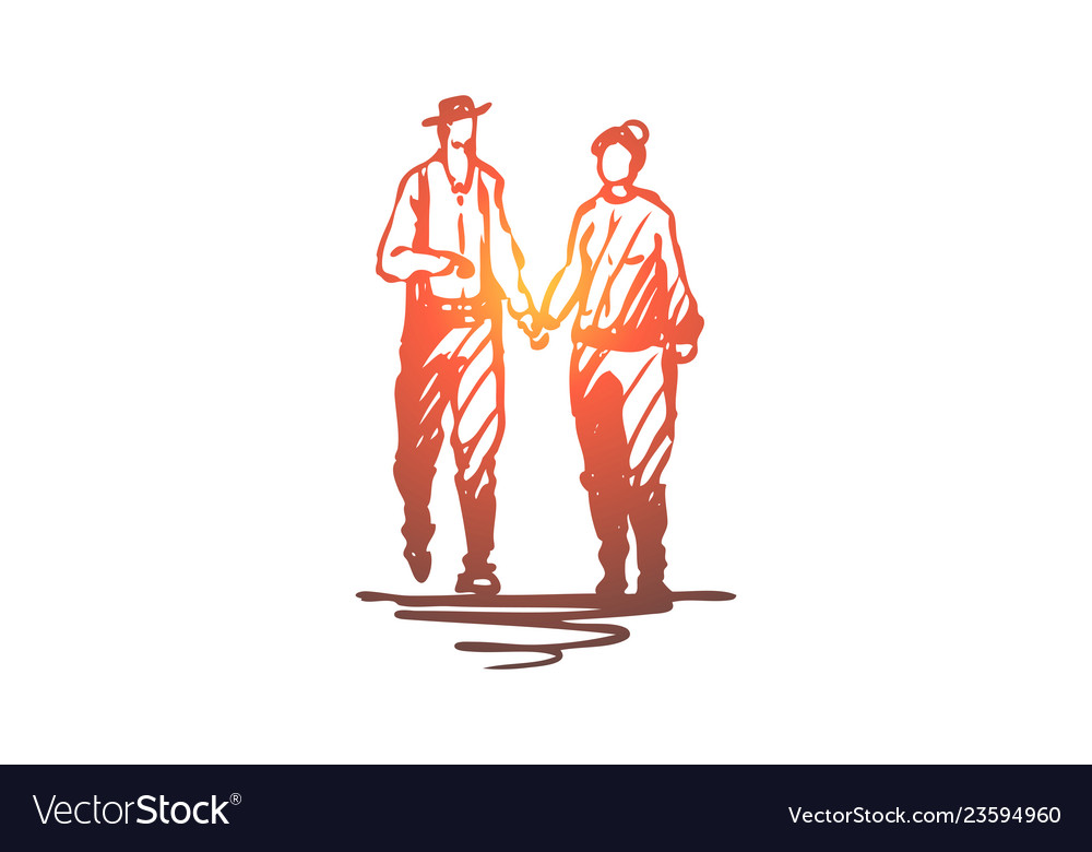 Old couple walking love together concept hand