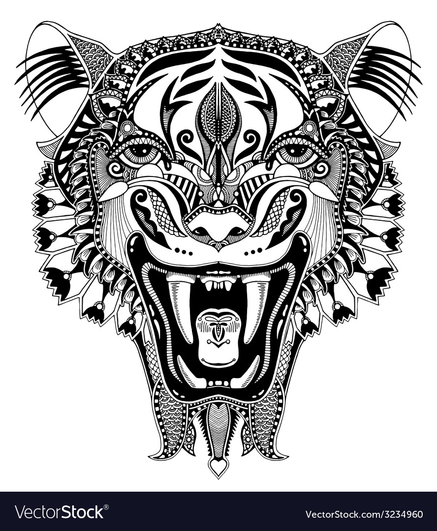 Original black head tiger drawing with the opened
