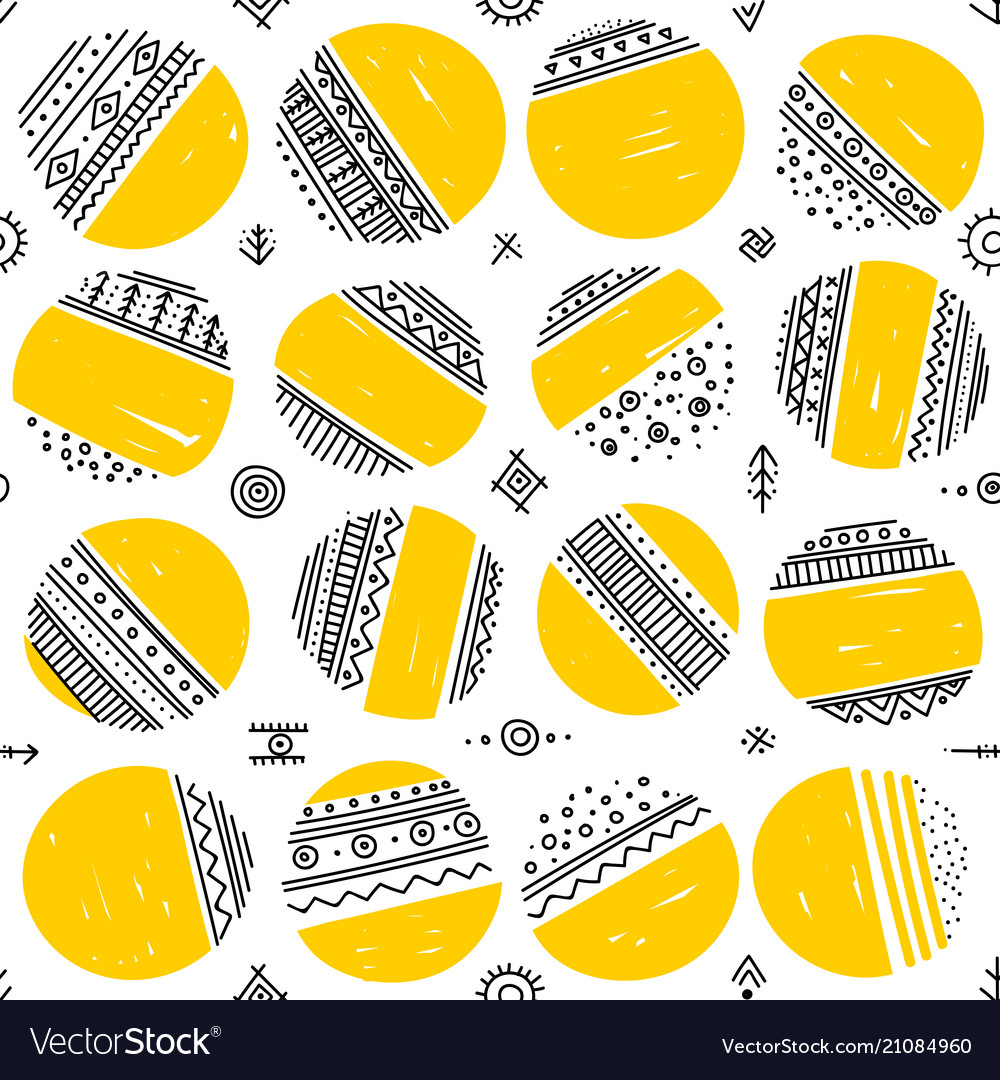 Seamless pattern with ethnic tribal boho circles