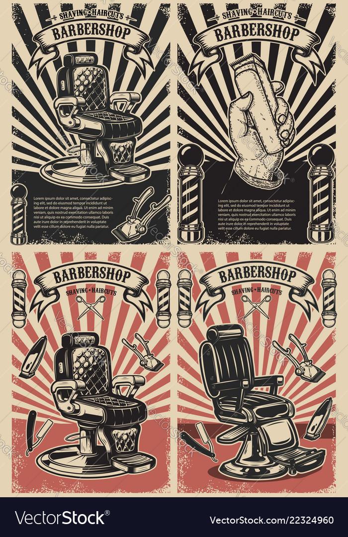 Set of barber shop poster templates design