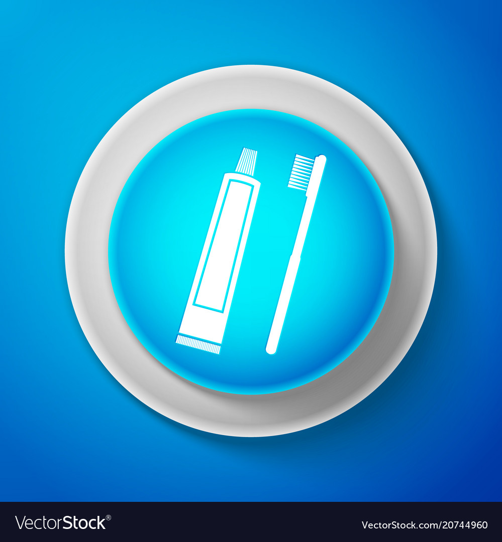 White tube of toothpaste and toothbrush icon