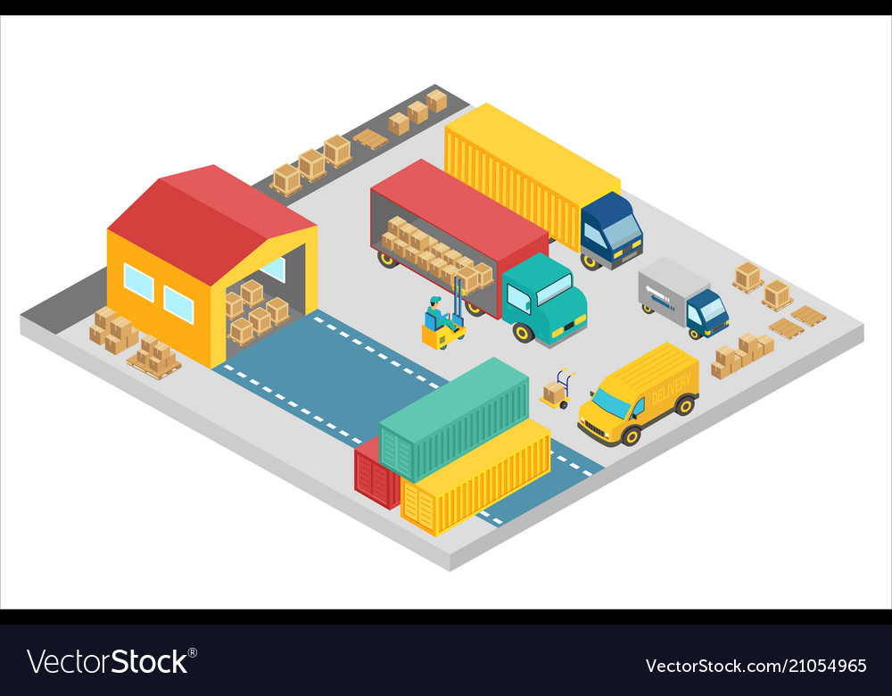 3d isometric process of the warehouse company