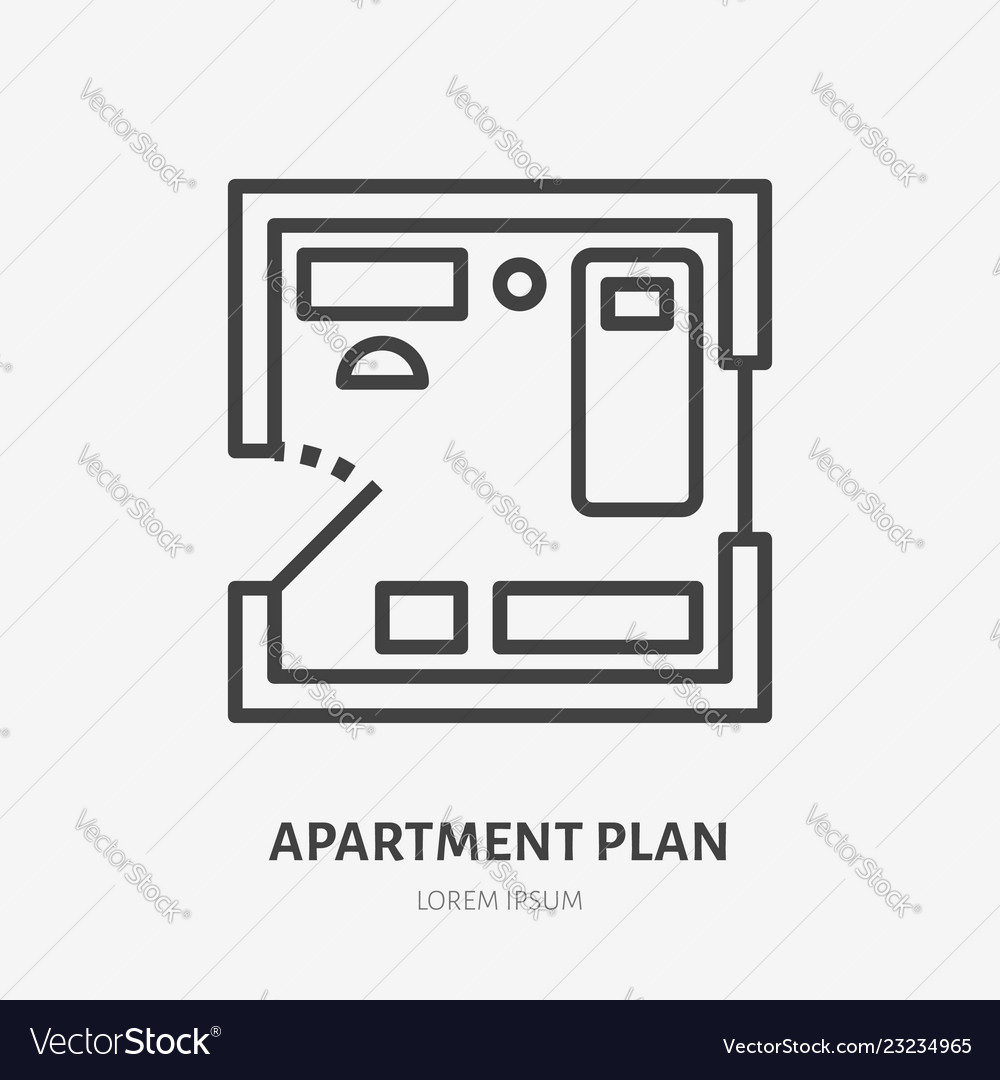 Apartment plan flat line icon thin sign of