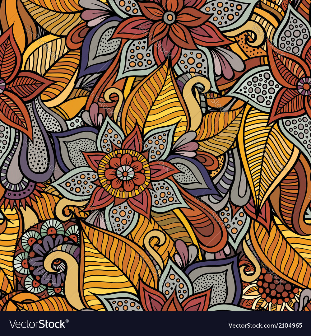 Autumn floral seamless pattern vector image