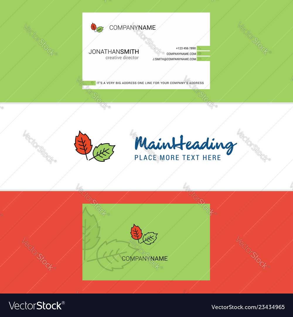 Beautiful leafs logo and business card vertical