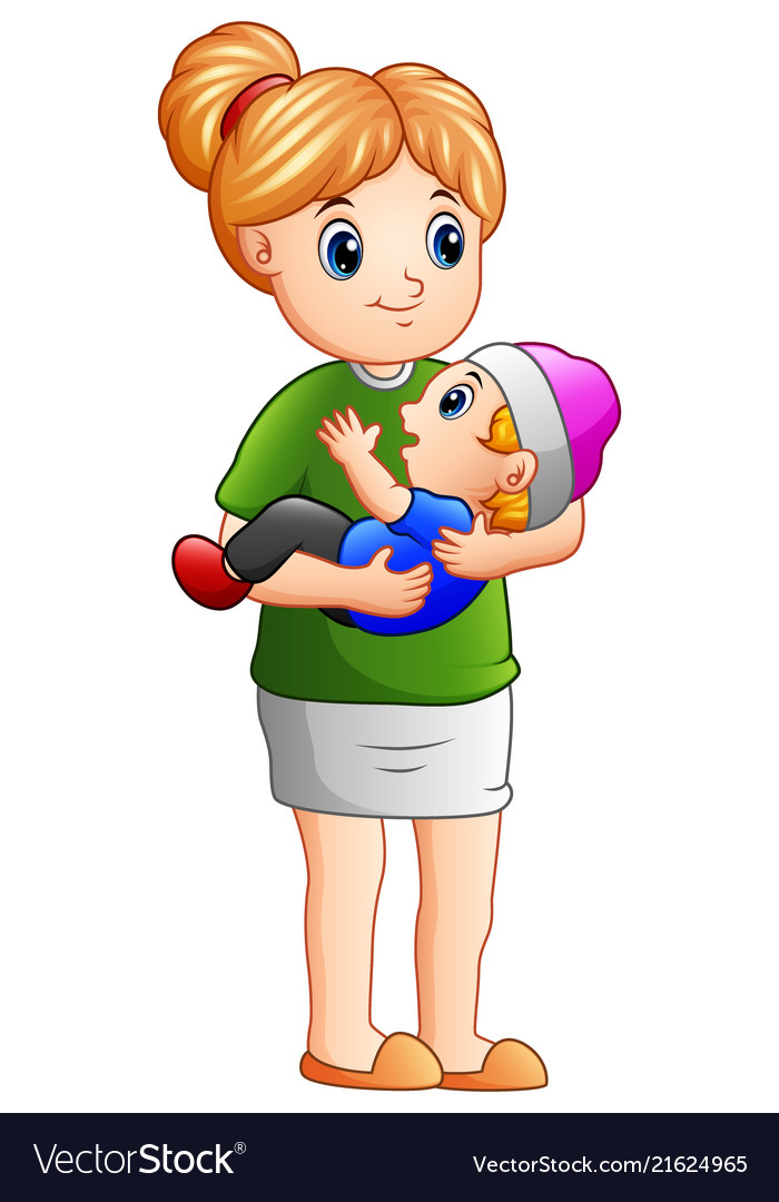 Cartoon mother holding her son