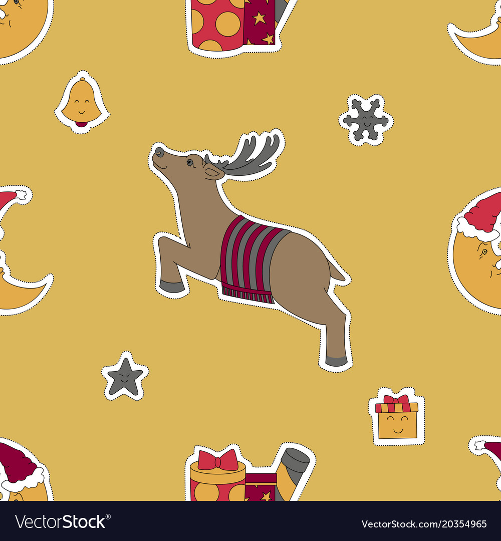Christmas template deer moon in a santa hat and Vector Image