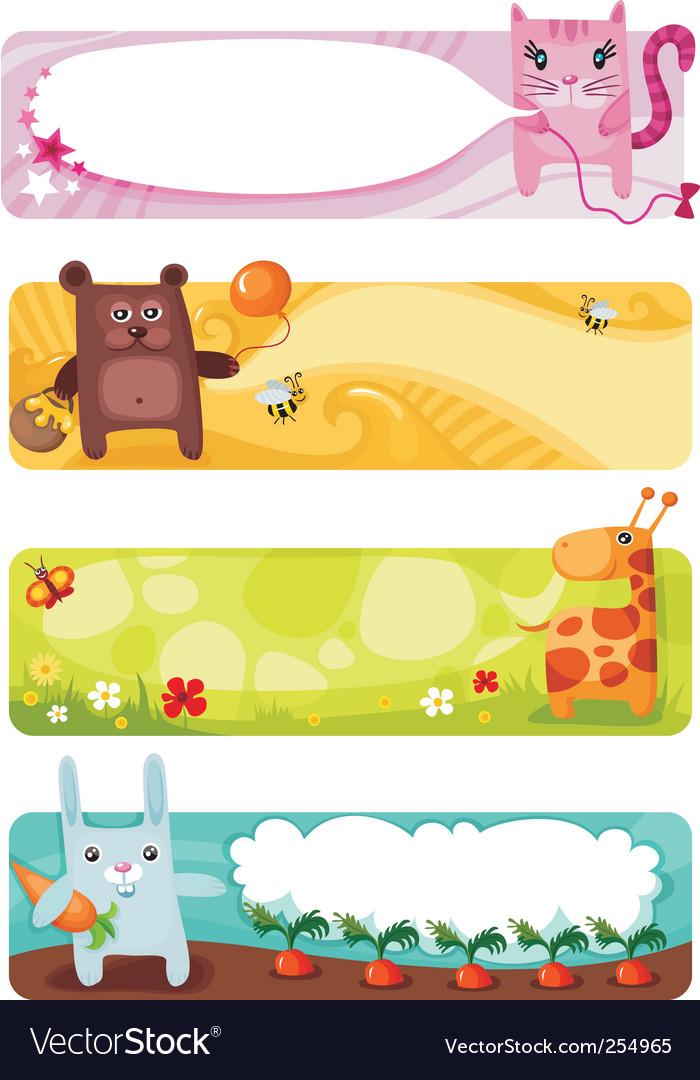 Cute animal card set vector image