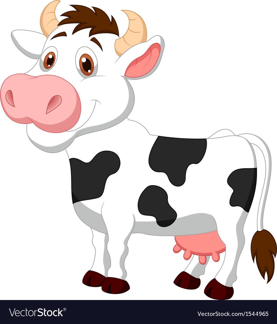 Cute cow cartoon Royalty Free Vector Image - VectorStock