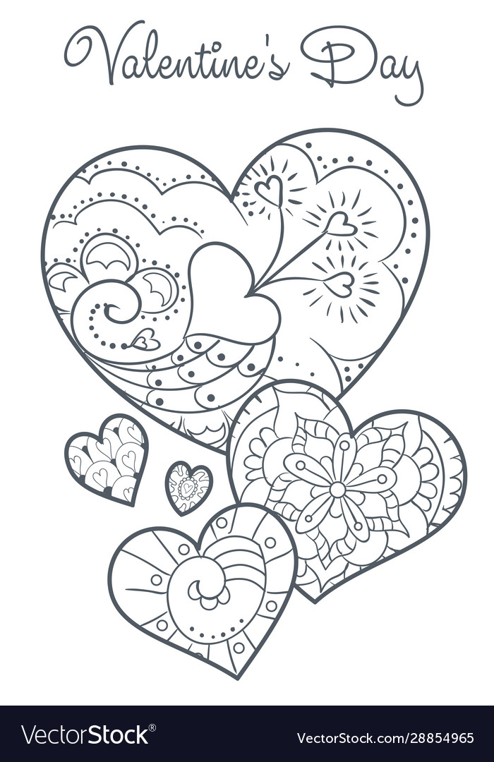 Cute Valentines Coloring Book Royalty Free Vector Image