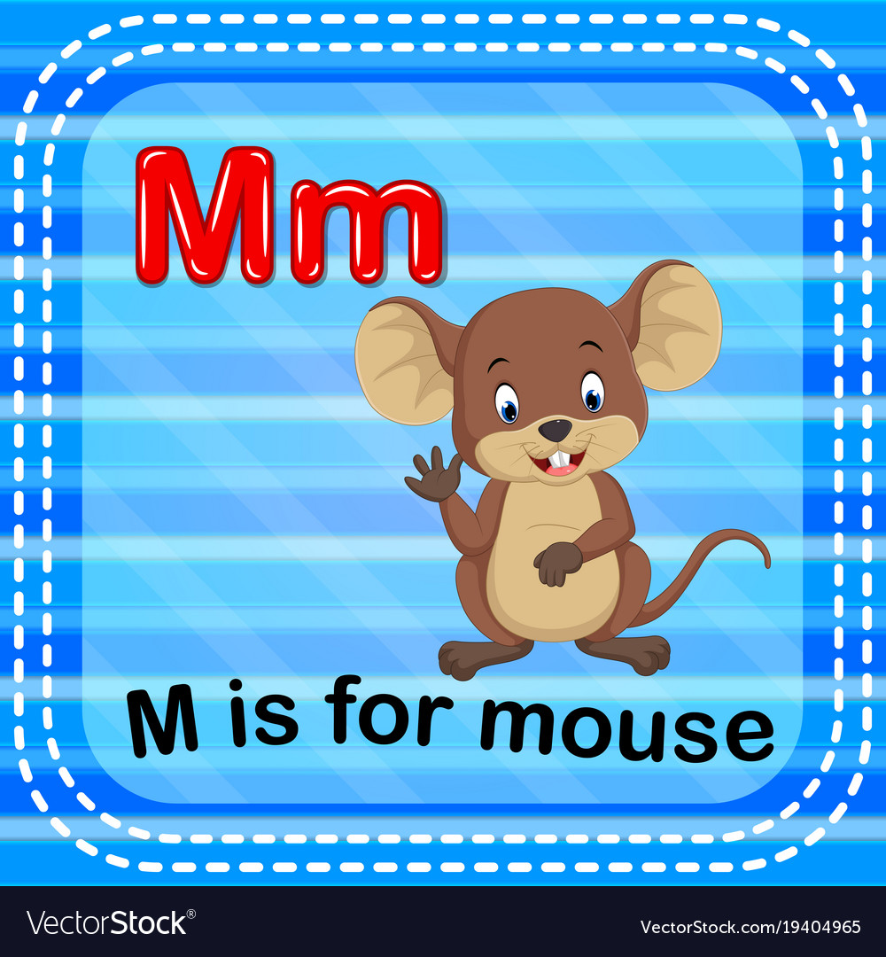 flashcard letter m is for mouse royalty free vector image