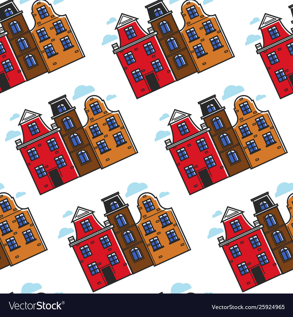 Netherlands town houses seamless pattern urban