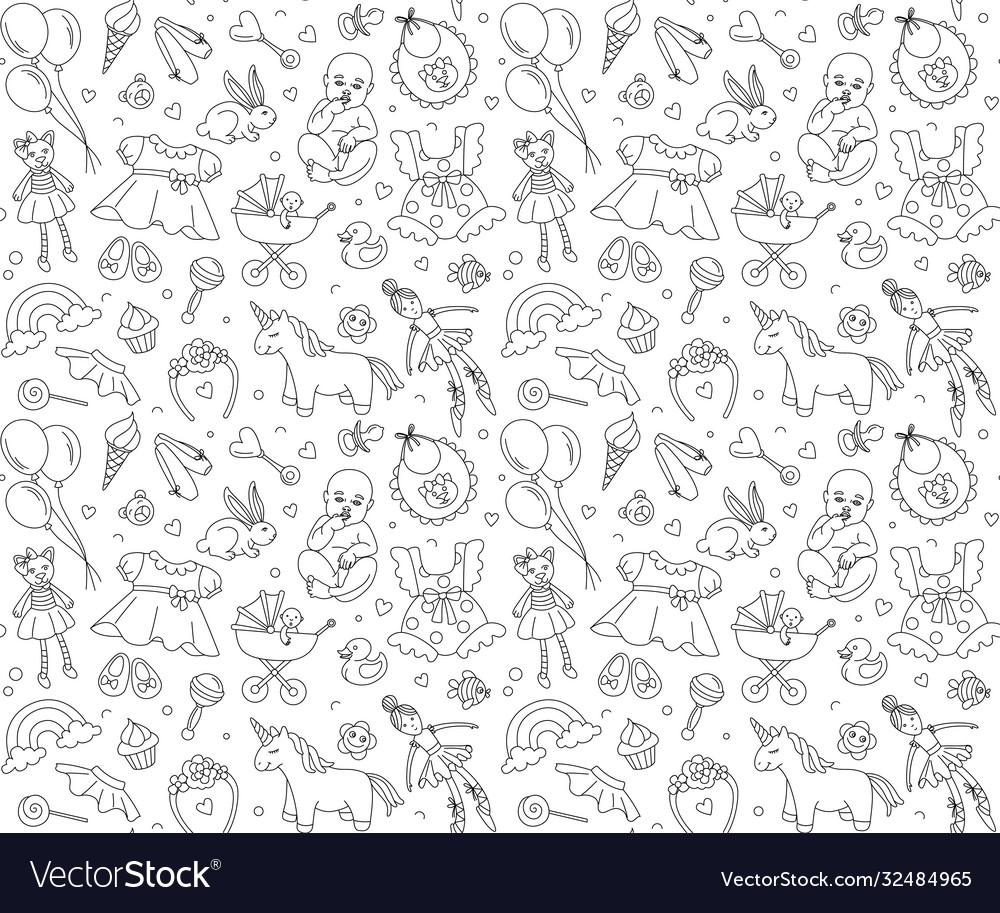 Newborn girl bashower seamless pattern thin