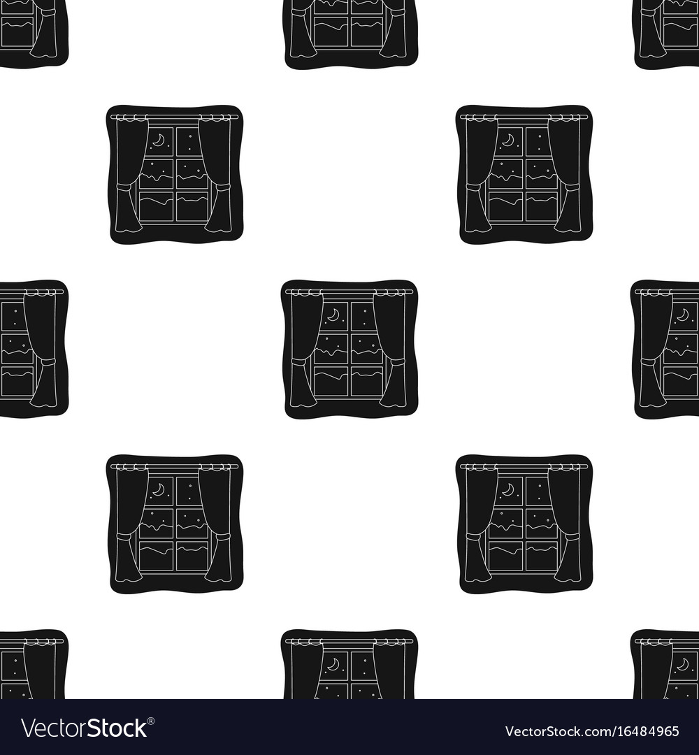 Night out the window icon in black style isolated