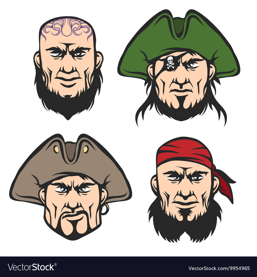 Pirate Mascot Faces Set