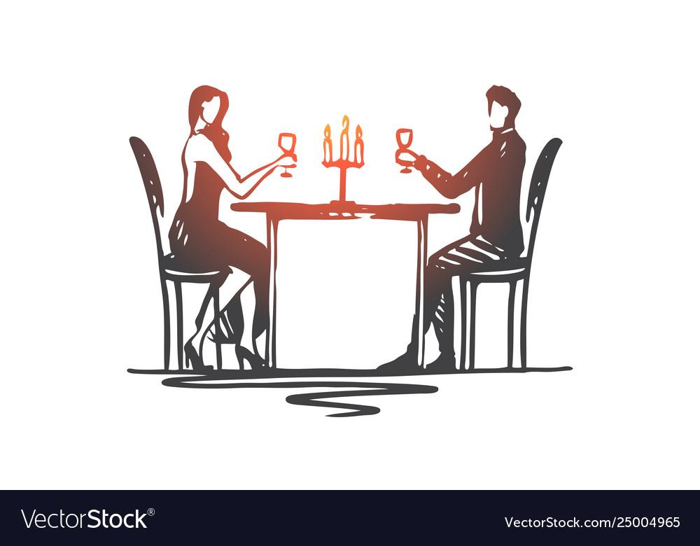 Restaurant couple love date romantic concept