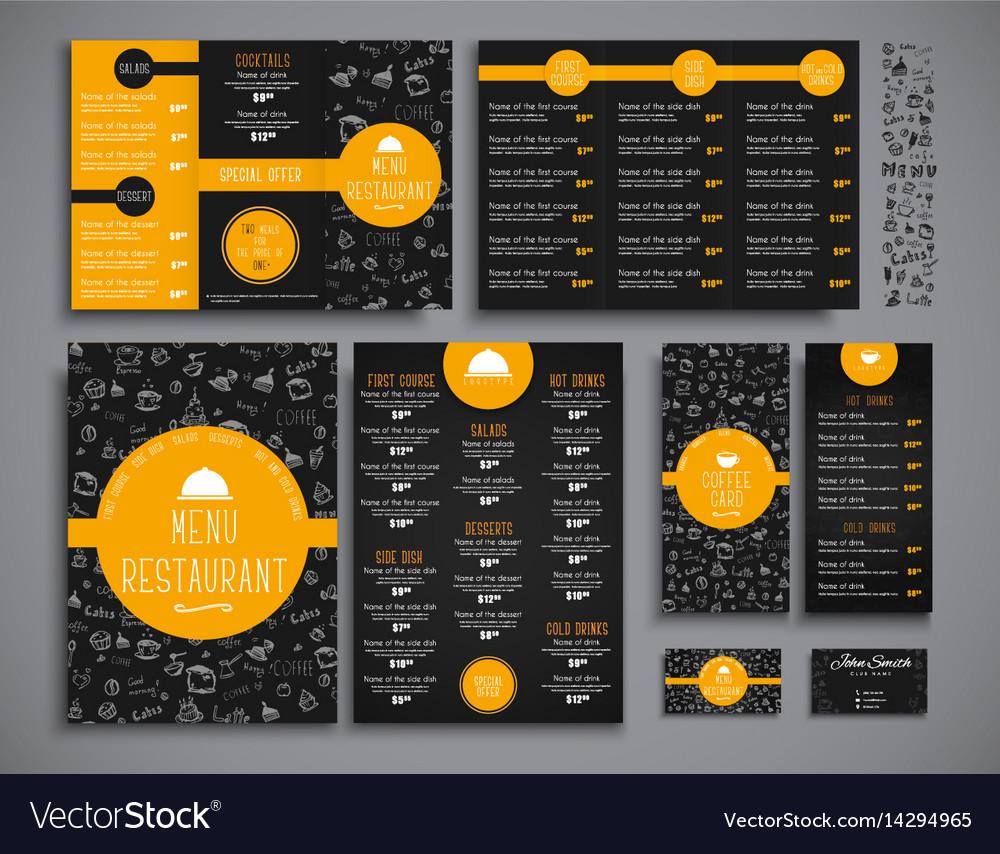 set a4 menu folding brochures and flyers narrow vector image