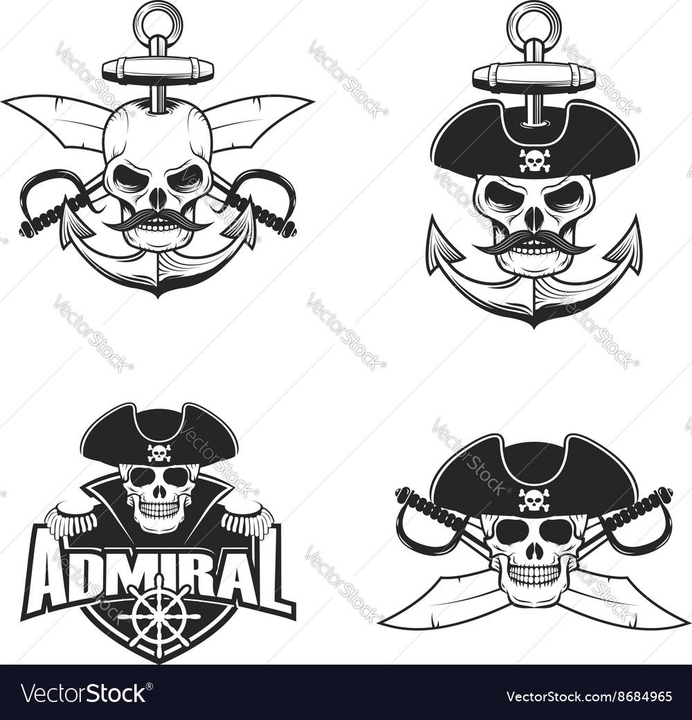 Set of pirate skulls vector image