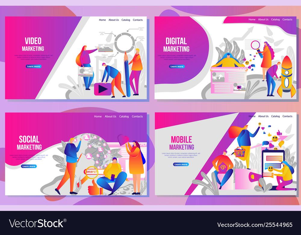Set web page design templates for social media