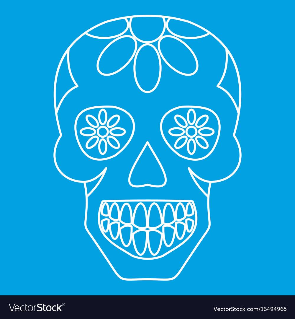 Sugar skull flowers on the skull icon outline