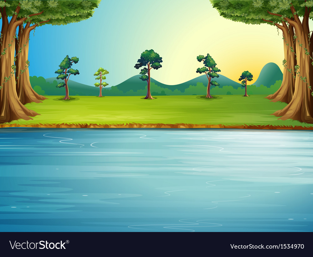 a forest with a river royalty free vector image vectorstock