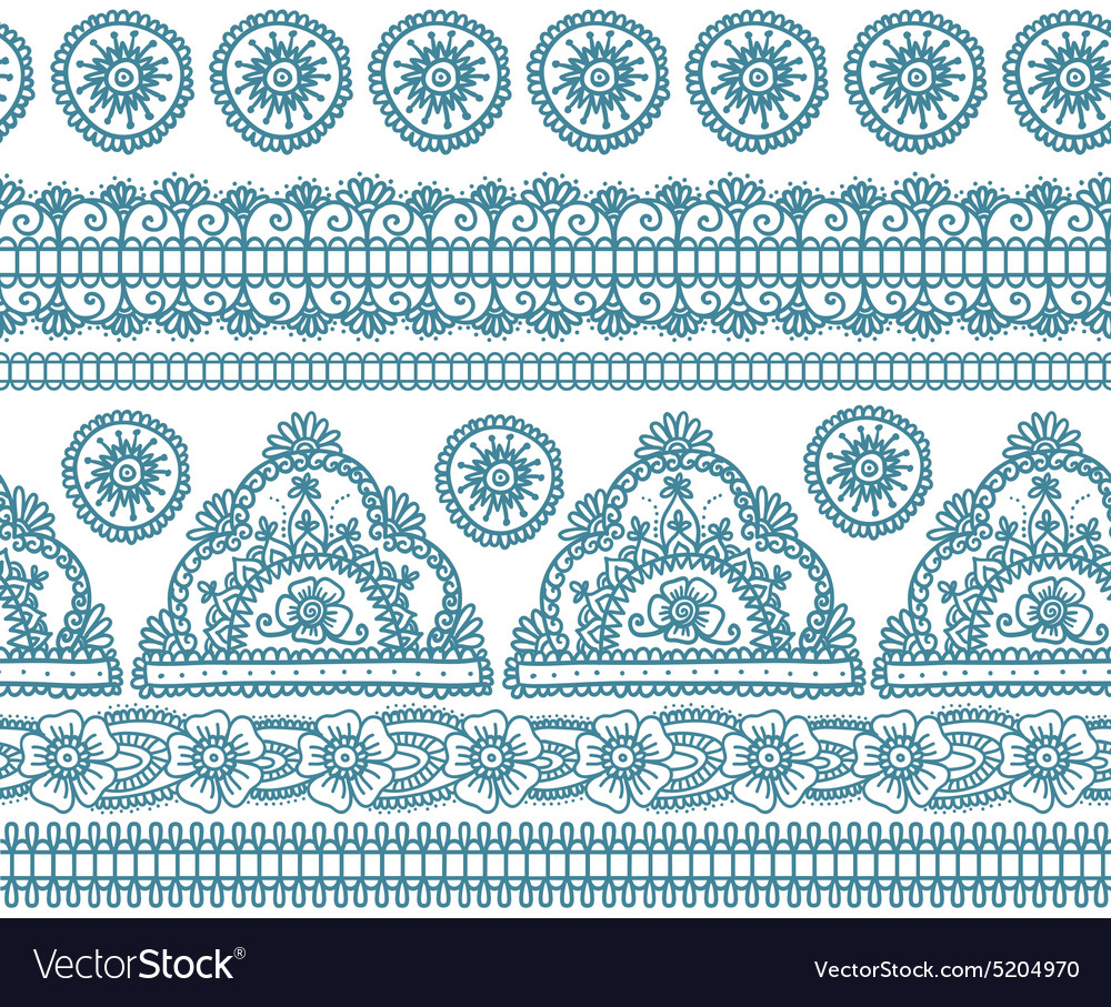 Blue indian seamless pattern vector image