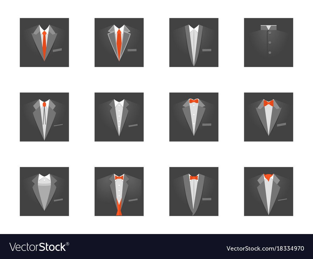 cartoon business card with suits and tuxedo set vector image