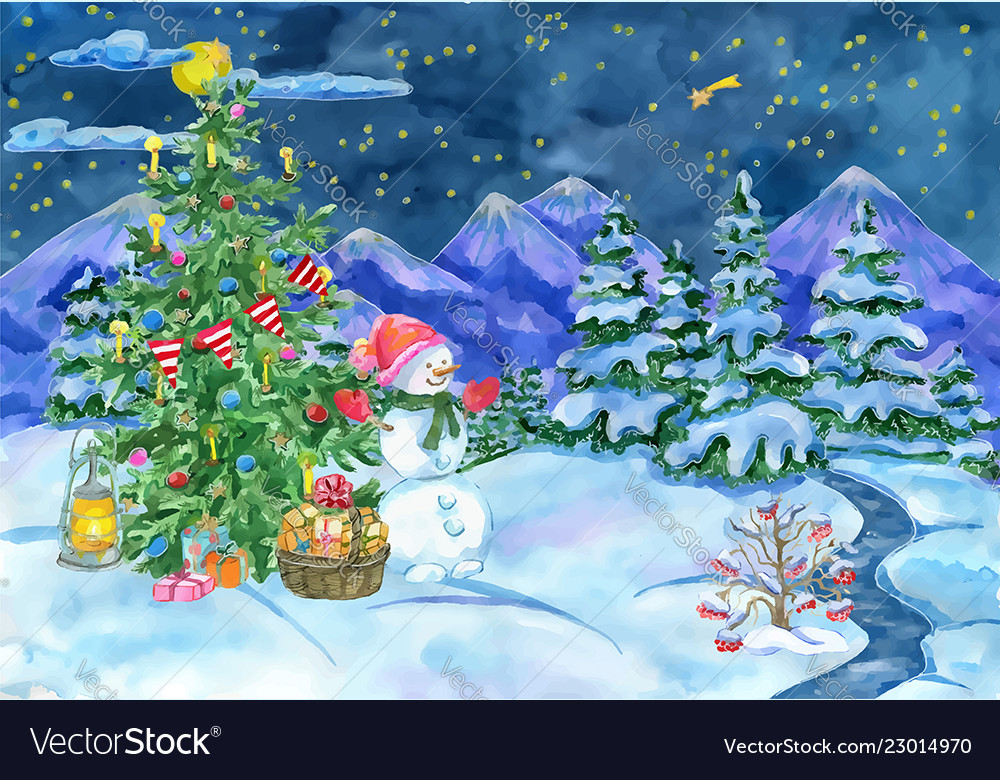 Christmas card with fir tree and snowman