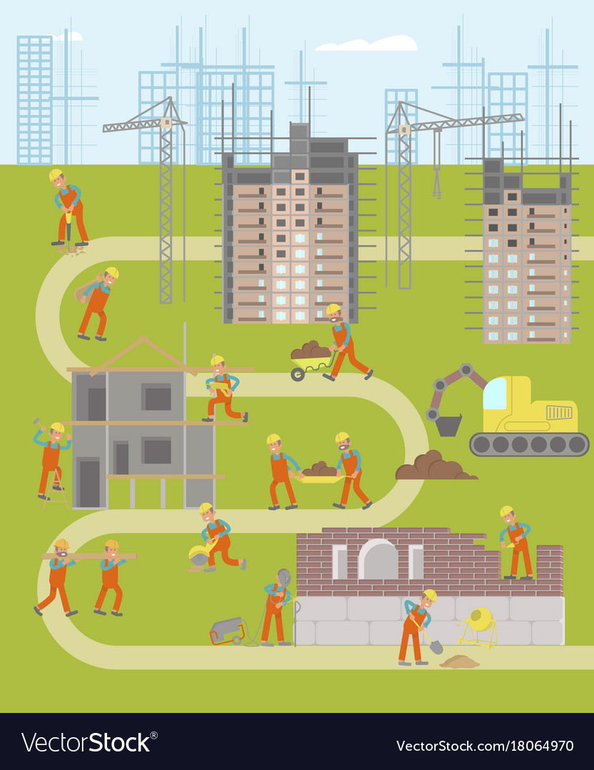 Construction plant infographic map vector image