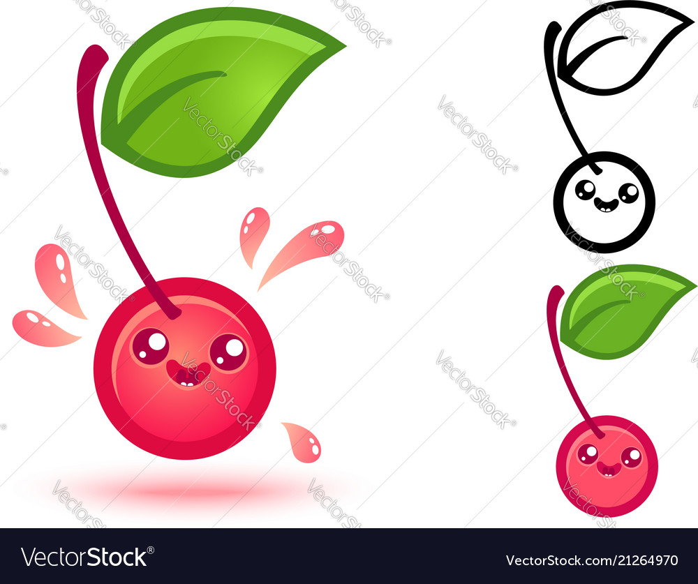 Cute cherry with juicy drops