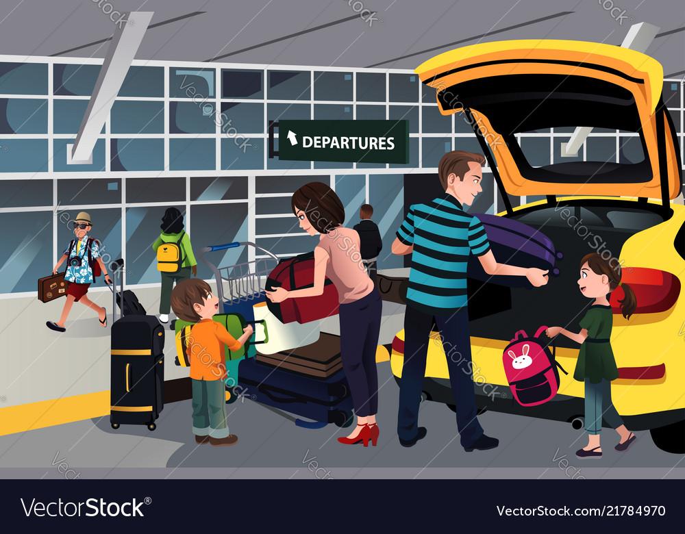 Family traveler outside the airport