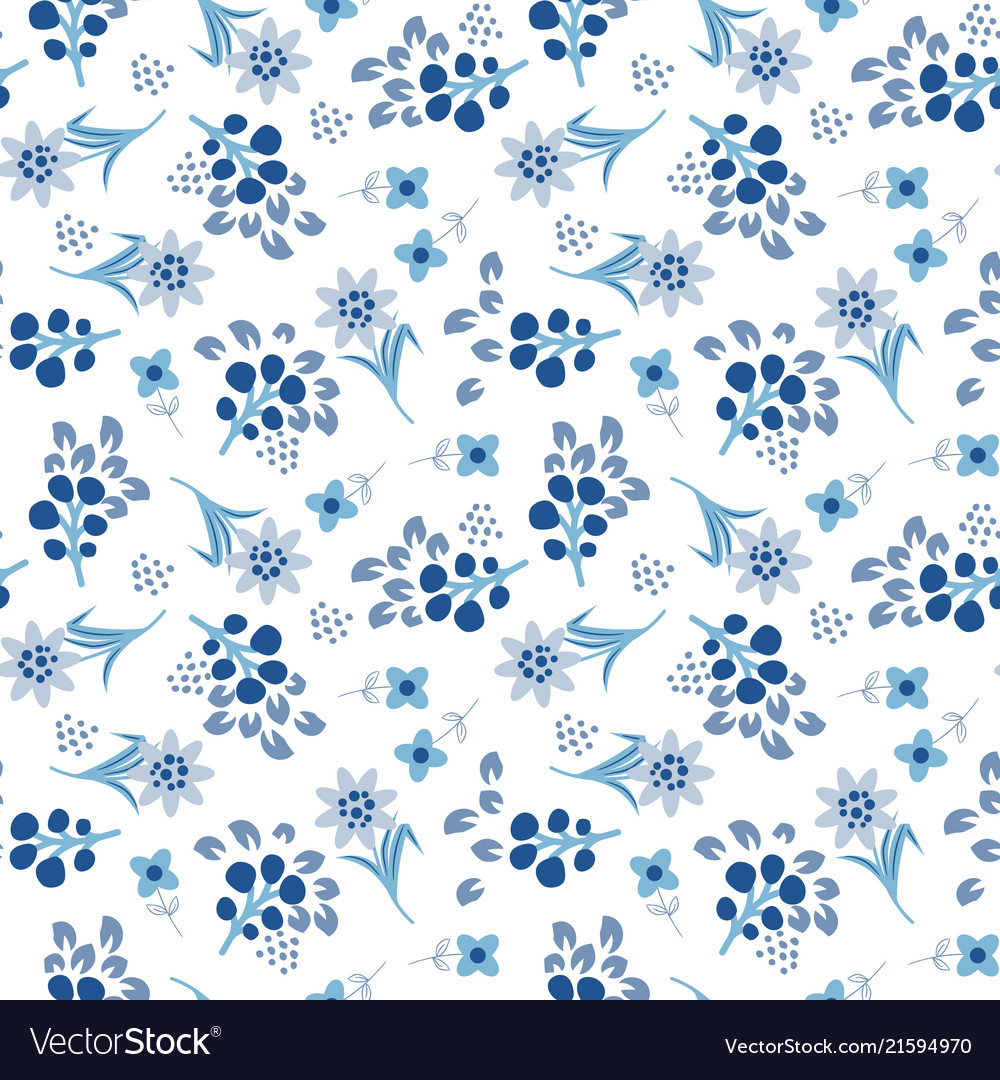 Floral blue tile seamless pattern