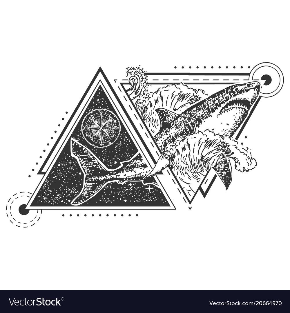 Geometric shark tattoo or t-shirt print