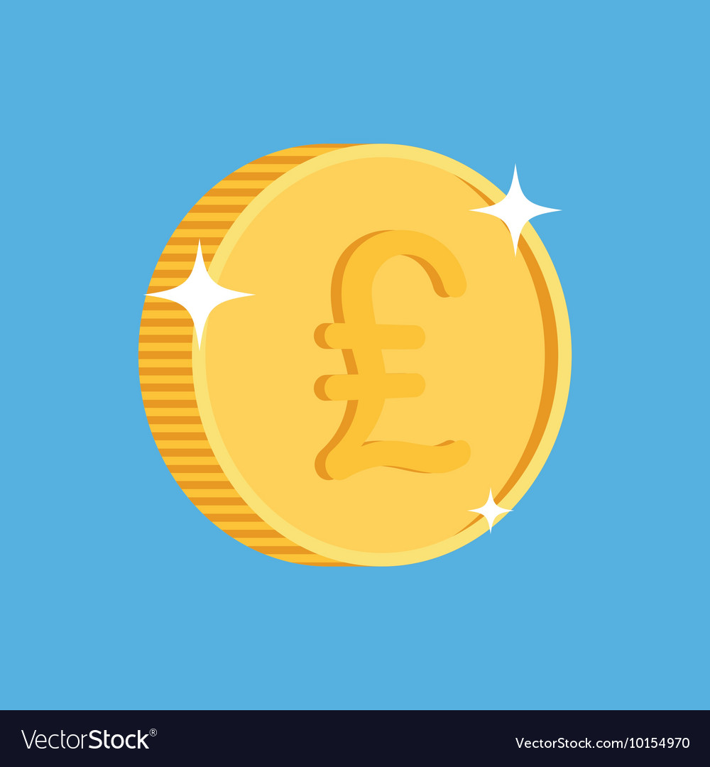 Gold coin icon with british pound symbol