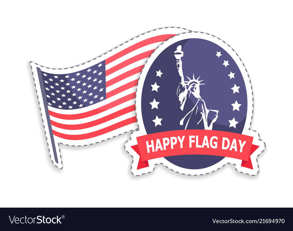 Happy flag day greeting stickers statue of liberty