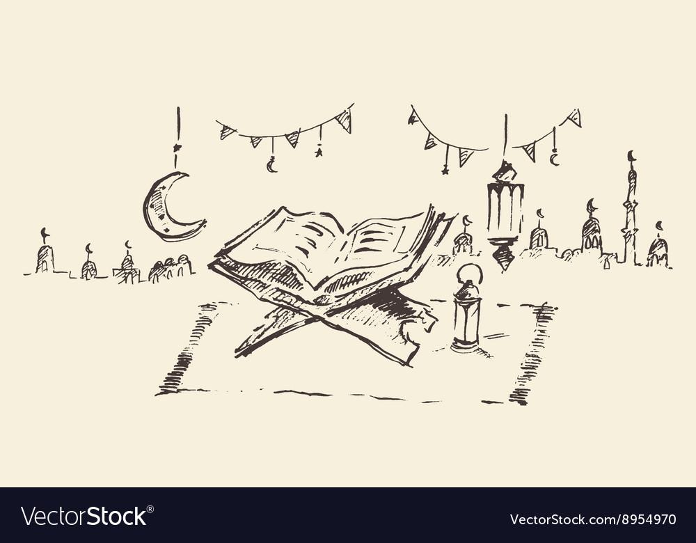 Holy book Koran Ramadan celebration hand drawn